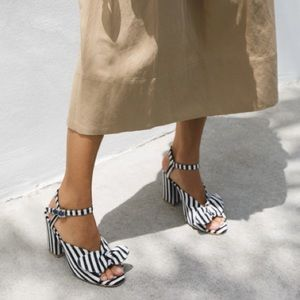 Loeffler Randall Leigh Navy Woven Stripe Heel